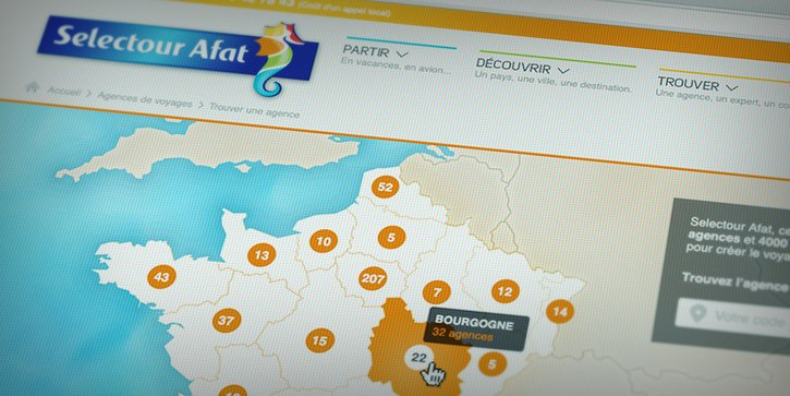 Selectour Afat: Carte de France interactive des agences
