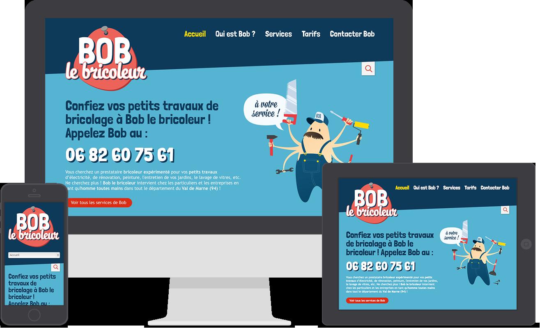 Ralisation De Lidentit Visuelle Et Du Site Web En Responsive Design Pour Le Prestataire Services La Personne Petits Travaux Bricolage Bob
